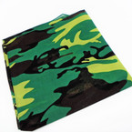 Bandana Dark Green Camoflauge DBL Side Printed 100% Cotton .56 ea