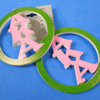 "2.75"" Round 2 Color AKA Sorority Theme Wood Earrings (7301)  .56  per pair"