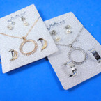 Gold & Silver Chain Neck Set w/ Circle of Life  Pendant Plus Earrings & Toe Rings   .58 per set