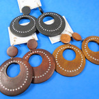 "3"" Wood Fashion Earrings Round w/ Clear Stones 3 colors .56 per pair"