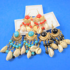 "3"" Handmade Dangle Fashion Earrings Colored Beads & Cowrie Sells  .58 per pair"