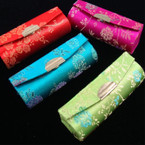 "3.5"" Asst Color Chinese Silk Print Mirror Lipstick Case .54 ea"
