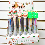 "6.5"" 6- Color Christmas Theme Ball Point Pens 36 per display  bx .55 each"
