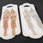 "3"" Elegant Dangle Gold & Silver Rhinestone Earrings .56 per pair"