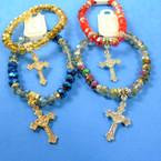 Metallic Crystal Stone Stretch Bracelet w/ Cast Cross Charm .58 each