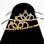 "2.5"" Gold/Silver Rhinestone Tiara Headbands Clear Stones (36) .65 each"