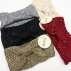 "Upgraded Quality  5"" Wide Stretch Knit Winter Headbands w/ Mini Sequins  6 colors  $ 2.50 each"