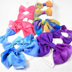 Set of 3 Tye Dye Gator Clip Bows Mixed Colors .56 per set