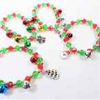 Crystal Bead & Jingle Bell Christmas Charm Bracelets .58 each