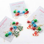 Cute Petite Jingle Bell Christmas Earrings w/ Dangle Charms .58 per pair