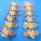 "2.5"" Mixed Color Crystal Stone Hair Barrettes  12 per pk .56 each"