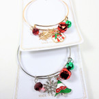 Gold & Silver Wire Bangle Christmas Bracelets  w/ Mixed Charms & Bells  .56 each