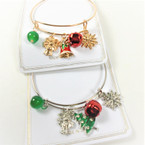 Gold / Silver Wire Bangle Christmas Bracelets  w/ Mixed Charms & Bells  .56 each
