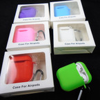 "2"" Silicone Case Cover for Airpods Case w/ Keychain CLip Asst Colors  12 per pk .75 each"
