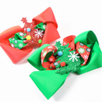 "5"" Layered Christmas Gator Clip Bows w/  Sparkle Tree .56 each"