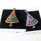 "1.5"" Cast Gold & Silver Christmas Tree  Broach w/ Crystal Stones  .58 ea"