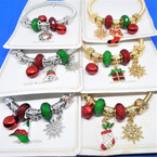 Christmas Theme Gold & Silver Spring Style Bracelets w/ Mixed Charms (2110/   .58 ea