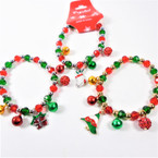 Red/Green Crystal Bead Bracelets w/ Jingle Bells/Charm 12 per pk  .58 each