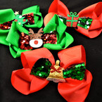 "5.5"" Red /Green Holiday Gator Clip Bows w/Sequin Christmas Bow & Ornament .54 each"