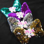 "3"" X 5"" Sequin Change Color Gator Clip Bows w/ Unicorn Mixed Colors  .54 each"