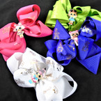 "5"" Kids Print w/ Ornament  Gator Clip Bows Mixed Colors  .54 each"