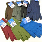Men's Large  Knit Winter Gloves Solid Mixed  Colors  .65 per pair