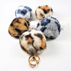 "3"" Faux Fur Animal Print Pom Pom Keychains w/ Purse Clip  .60  ea"