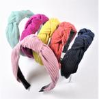 "1.5"" Corduroy  Look Fashion Headbands w/ Knot Asst Colors .58 each"
