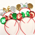 Sequin Mouse Ear & Bow Headbands w/ Christmas Ornament  .56 each