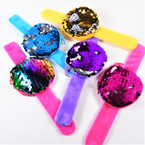 "NEW 3"" Change Color Sequin Zipper Coin Purse on Slap Bracelet 12 per pk .60 each"