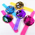 """NEW 3"""" Change Color Sequin Zipper Coin Purse on Slap Bracelet 12 per pk .60 each"""