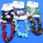 10MM Semi Precious Stone Stretch Bracelets Asst Colors .75 each