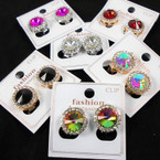Penny Size Crystal Stone CLIP ON Fashion Earrings w/ Cry. Stone Edge  . 65per pair
