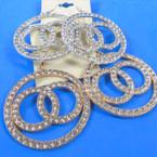 "2"" Gold & Silver Crystal Stone Hi Fashion Earrings Triple Rings  .58 per pair"