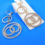 \Gold & Silver Crystal Stone Triple Ring Fashion Key Chain w/ Clip .58 each