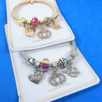 Gold & Silver Spring Style Bracelet w/ Hearts & Mixed Charms  .58 each