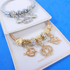 Gold & Silver Spring Style Bracelet w/ Love Heart Charms  .58 each