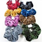 Lg. Size Velvet Scrungi w/ AB Stones 8 colors per dz .54 each
