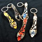 Casted Gold w/ Epoxy Crystal Stone Slipper Key Chains 12 per pk .65 ea