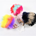 "4"" Faux Fur Pom Pom Keychain Multi Color  12 per pk  .58 ea"