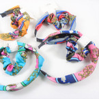 Fashion Print  Headband w/ Knot & Scrungi Set Mixed Colors  .56 per set