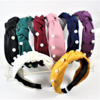 "1.5"" Wide Soft Fabric  Fashion Headbands w/ Knot & Pearls  .56 ea"