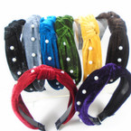 "1.5"" Wide Plush Velvet  Fashion Headbands w/ Knot & Pearls   .56 ea"