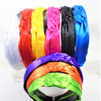 Trendy Stain Fabric  Braid Style  Fashion Headbands Bright Colors   .56 each