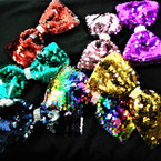 "6"" Sequin Gator Clip Bows w/ Cry. Stone Center   .56 each"