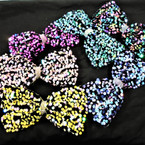 "6"" Sequin Gator Clip Bows w/ Cry. Stone Center - Multi Colors   .56 each"