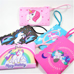 "4"" x 7"" Wrislett Style Unicorn Theme Dbl Side Print Zipper Bags .58 ea"