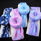 "Trendy 2"" Sweet Dream  Unicorn Print Fabric  Stretch  Headbands w/ Donut   .56 ea"
