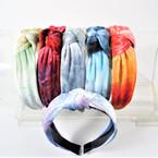 """1.5"""" Tye Dye Theme Velvet  Fashion Headbands w/ Knot .56 each"""