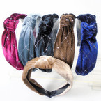 "1.5"" Silver Sparkle  Pattern Velvet Fashion Headbands w/ Knot .56 each"